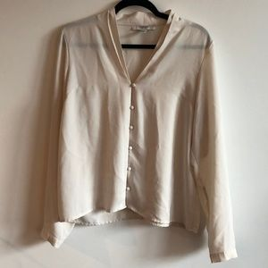 Button-Up Blouse in Cream Color